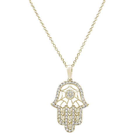 ".27ct 14k Yellow Gold Diamond Hand of Hamsa Chai Pendant Necklace 18""Long"