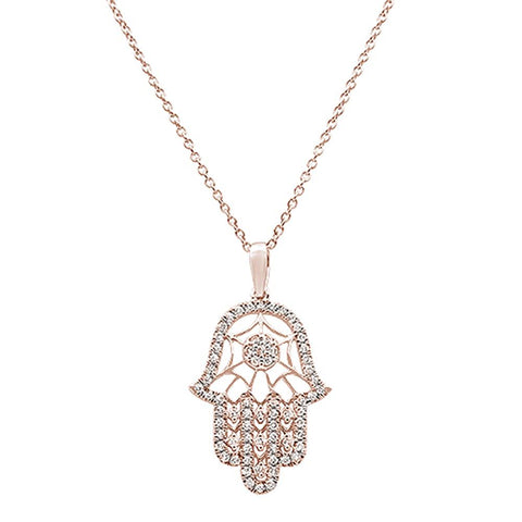 ".25ct 14k Rose Gold Diamond Hand of Hamsa Chai Pendant Necklace 18""Long"