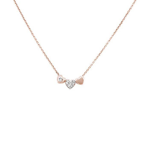 ".06ct G SI 14k Rose Gold Diamond Hearts Pendant Necklace 18"" Long"