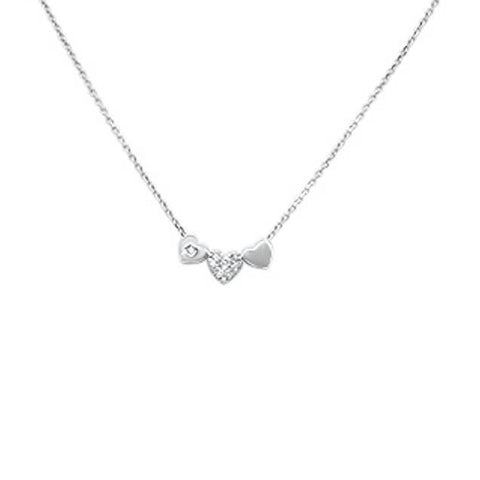 ".06ct G SI 14k White Gold Diamond Hearts Pendant Necklace 18"" Long"