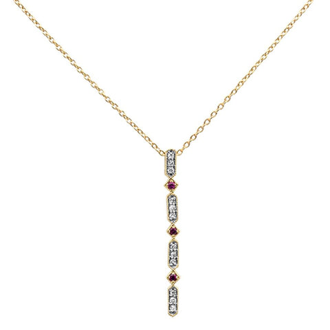 .17ct 10k Yellow Gold Ruby & Diamond Antique Pendant Necklace 18""