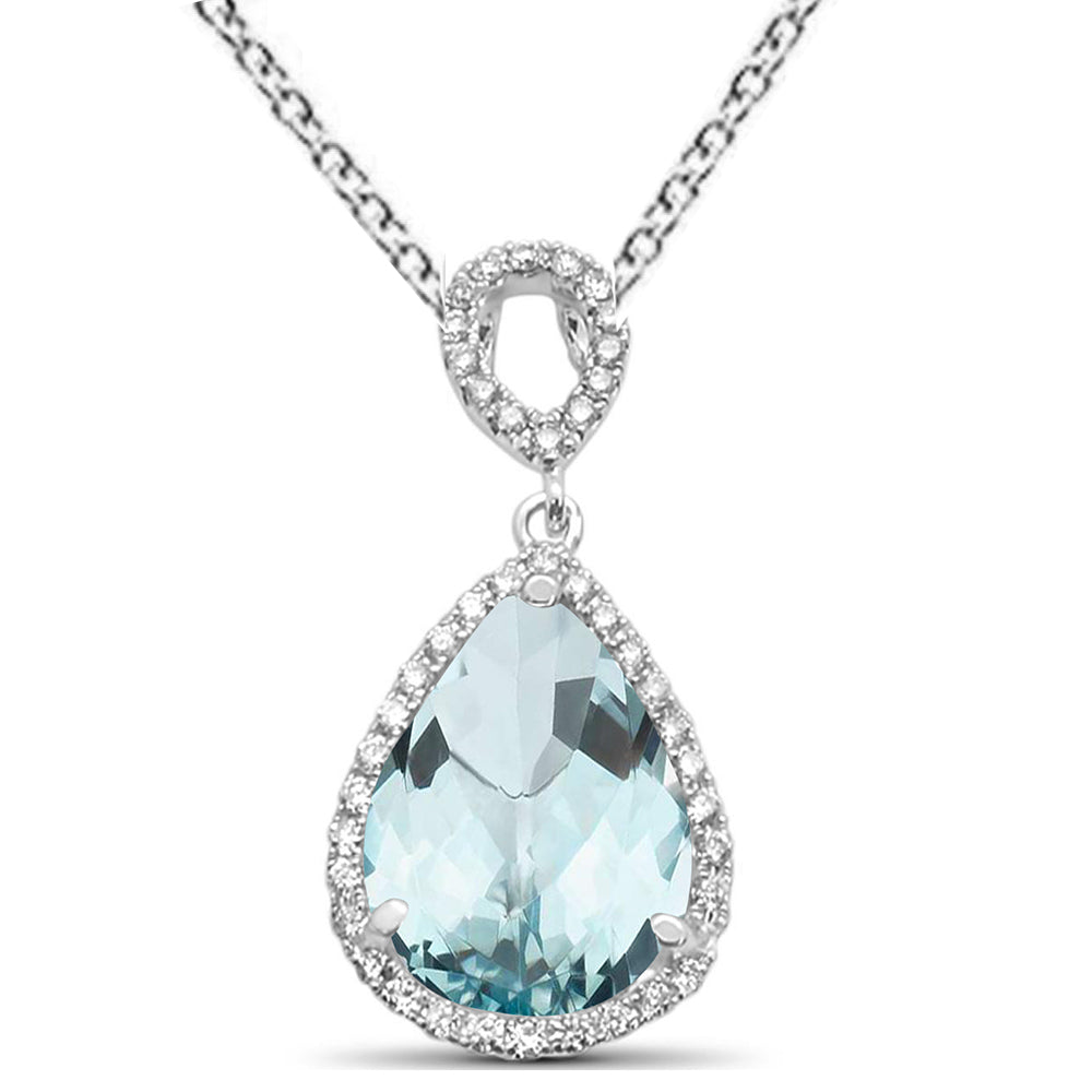"2.85ct Pear Aquamarine 14k White Gold Diamond Pendant Necklace 18"" Long"