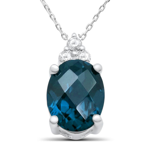 "2.09ct 10K White Gold Natural Blue Topaz & Diamond Pendant Necklace 18"" Lon"