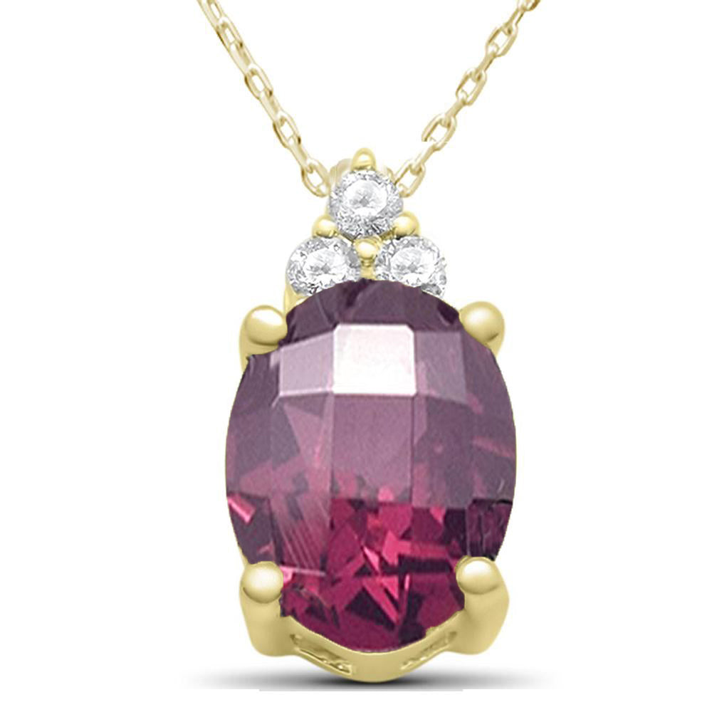"2.20ct 10k Yellow Gold Rhodolite & Diamond Pendant Necklace 18"" Long"