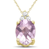 "1.84ct 10k Yellow Gold Pink Amethyst & Diamond Pendant Necklace 18"" Long"