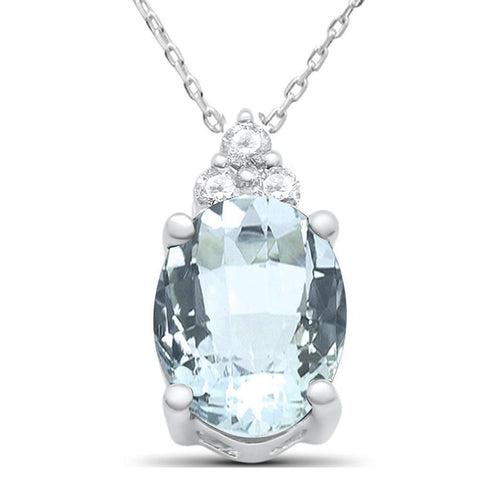 1.58ct 10k White Gold Oval Aquamarine & Diamond Solitaire Pendant Necklace
