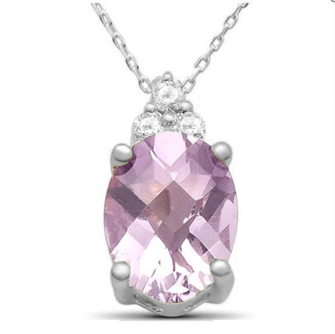 "1.54ct 10k White Gold Pink Amethyst & Diamond Pendant Necklace 18"" Long"