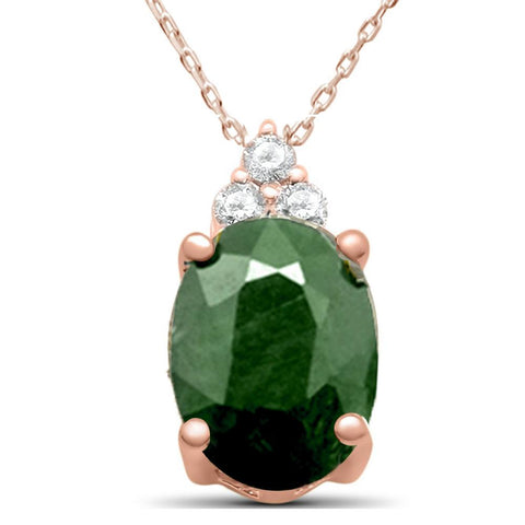 "2.22ct 10K Rose Gold Natural Emerald Diamond Pendant Necklace 18"" Long"