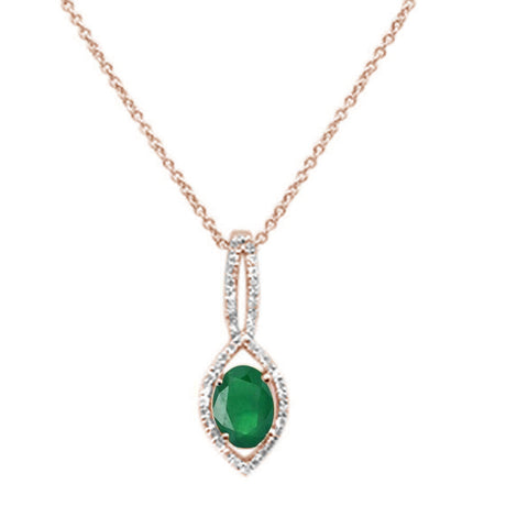 .90ct 10k Rose Gold Emerald & Diamond Solitaire Pendant Necklace 18""