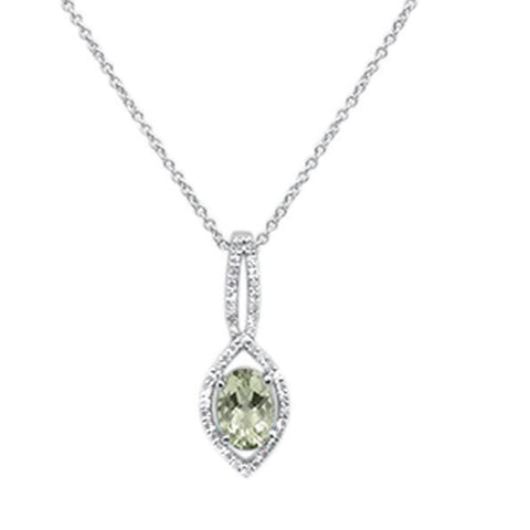 ".83cts 10k White gold Oval Green Amethyst & Diamond Necklace 18"" Long"