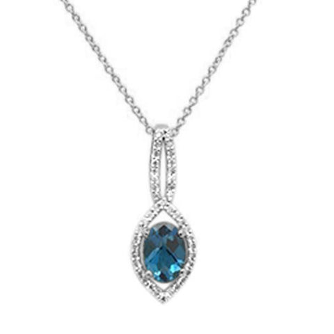 ".94cts 10k White gold Oval Blue Topaz & Diamond Necklace 18"" Long"