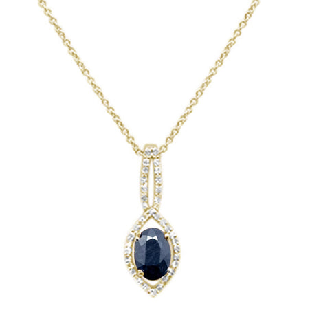 .98ct 10k Yellow Gold Blue Sapphire & Diamond Solitaire Pendant Necklace 18""