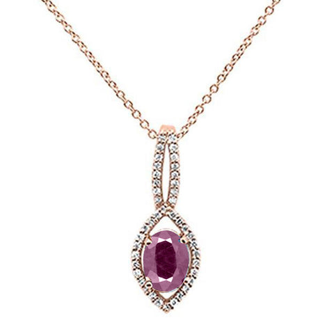 .88ct 10k Rose Gold Ruby & Diamond Solitaire Pendant Necklace 18""