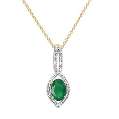 .83ct 10k Yellow Gold Green Emerald Diamond Solitaire Pendant Necklace 18""
