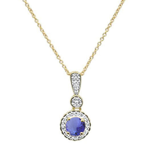 ".75cts 10k Yellow Gold Round Tanzanite & Diamond Necklace 18"" Long"