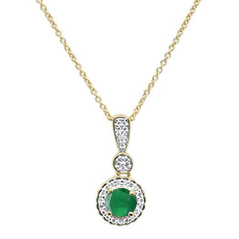 ".55cts 10k Yellow Gold Round Emerald & Diamond Necklace 18"" Long"