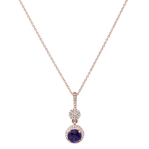 "0.9cts 10k Rose Gold Round Amethyst & Diamond Necklace 18"" Long"