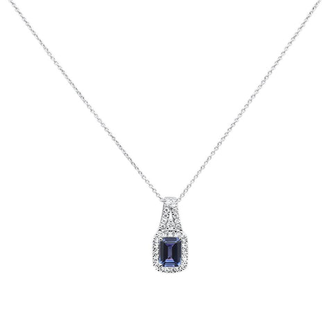 "1.69cts 10k White gold Emerald Cut Tanzanite & Diamond Necklace 18"" Long"