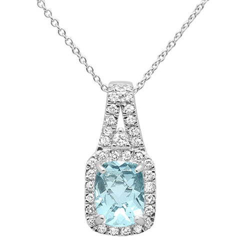 1.53cts 10k White Gold Radiant Aquamarine & Diamond Pendant Necklace 18""