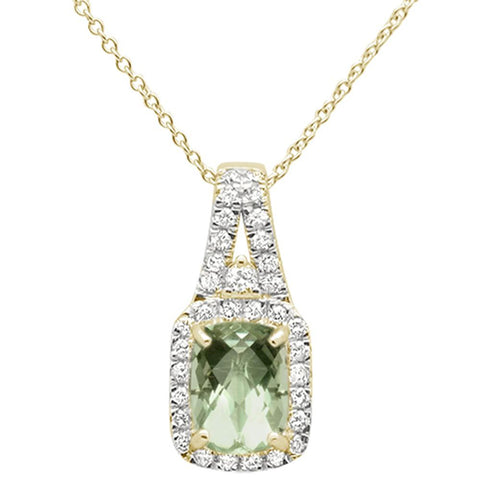 "1.78cts 10k Yellow Gold Green Amethyst & Diamond Pendant Necklace 18"" Long"