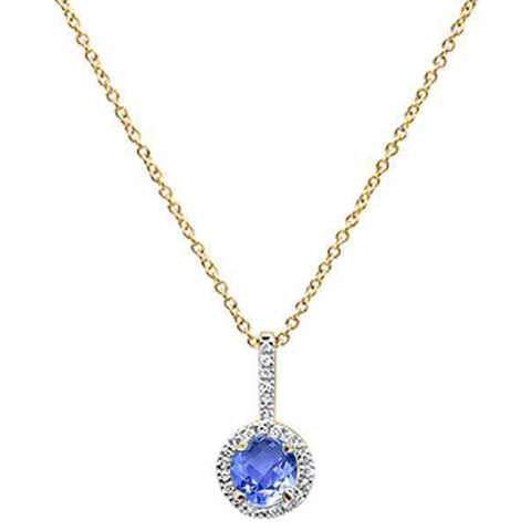 ".60ct 10K Yellow Gold Tanzanite & Diamond Pendant Necklace 18"" Long"