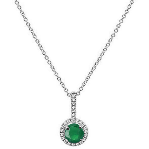 ".50cts 10k White Gold Round Emerald & Diamond Necklace 18"" Long"