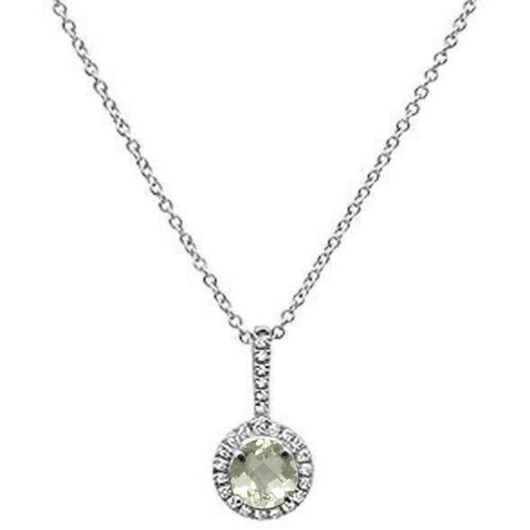 ".51cts 10k White Gold Round Green Amethyst & Diamond Necklace 18"" Long"