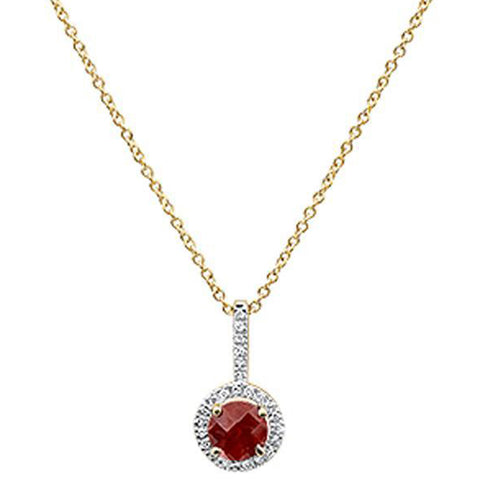 "0.75cts 10k Yellow Gold Round Garnet & Diamond Necklace 18"" Long"