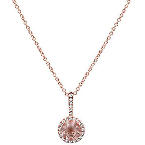 ".54ct 10K Rose Gold Diamond & Morganite Solitaire Pendant Necklace 18"" Long"