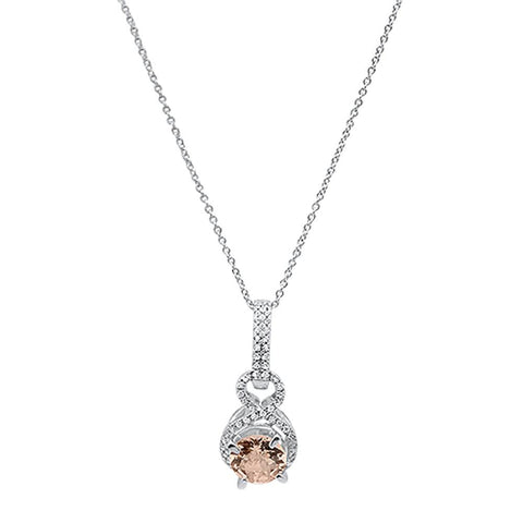 "1.18cts 10k White gold Round Morganite & Diamond Necklace 18"" Long"