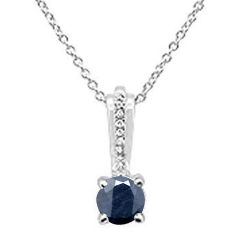 .53ct 10k White Gold Blue Sapphire & Diamond Solitaire Pendant Necklace 18""