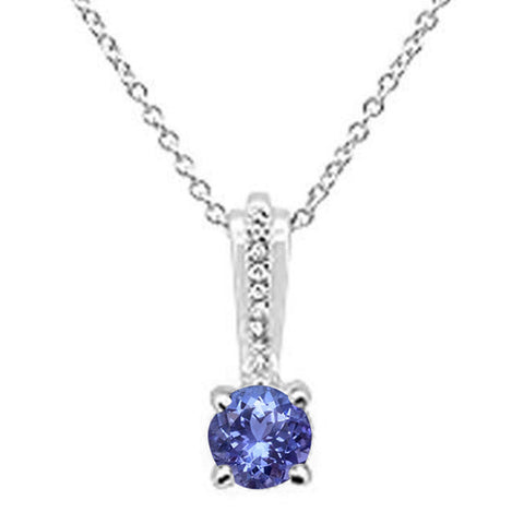 .77ct 10k White Gold Tanzanite & Diamond Solitaire Pendant Necklace 18""