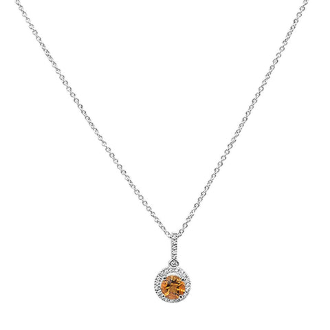 "0.56cts 10k White gold Round Citrine & Diamond Necklace 18"" Long"