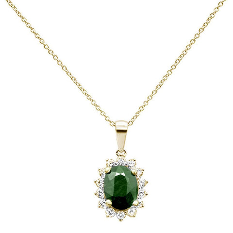 "2.26ct 10K Yellow Gold Natural Emerald & Diamond Pendant Necklace 18"" Long"