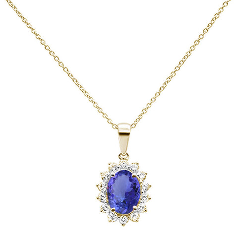 1.88cts 10k Yellow Gold Oval Tanzanite & Diamond Pendant