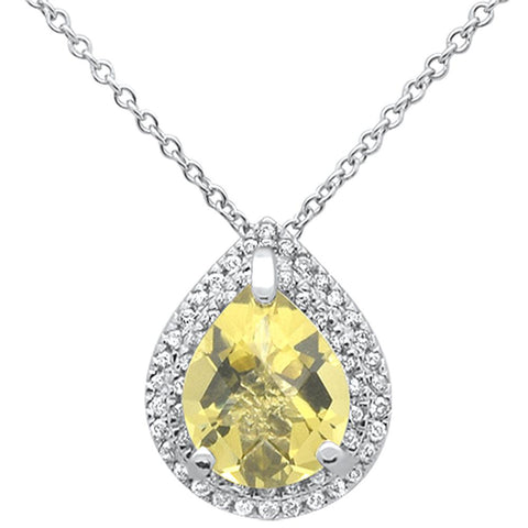 "1.56cts 10k White Gold Pear Olive Quartz & Diamond Pendant Necklace 18"" Long"