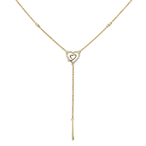 ".09ct 14kt Yellow Gold Diamond Drop Heart Lariat Pendant Necklace 18""+ 2"""