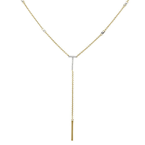 ".09ct 14kt Yellow Gold Diamond Drop Lariat Pendant Necklace 18""+ 2"" Ext"