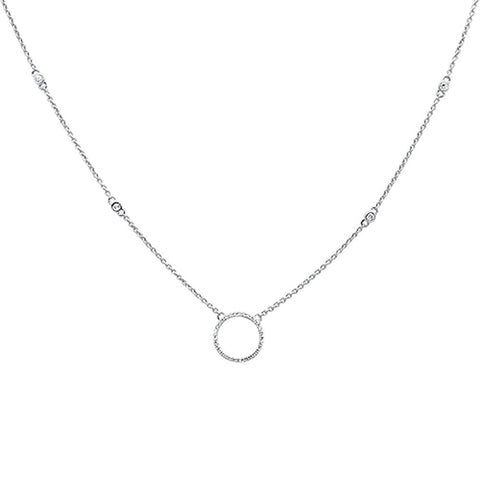 ".17ct 14kt White Gold Diamond Trendy Circle Pendant Necklace 18""+ 2"" Ext"