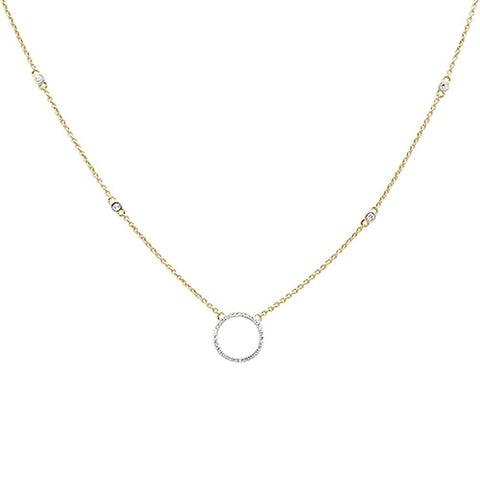 ".16ct 14kt Yellow Gold Diamond Trendy Circle Pendant Necklace 18""+ 2"" Ext"