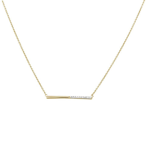 ".08ct 14kt Yellow Gold Diamond Bar Pendant Necklace 18""+ 2"" Ext."