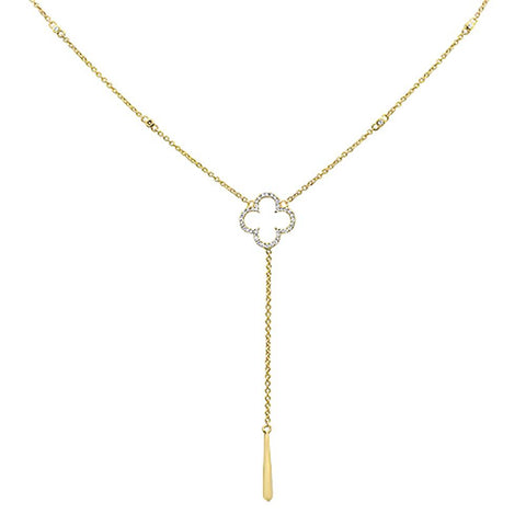.13cts 14k Yellow Gold Diamond Flower Drop Dangle Pendant Necklace 18""