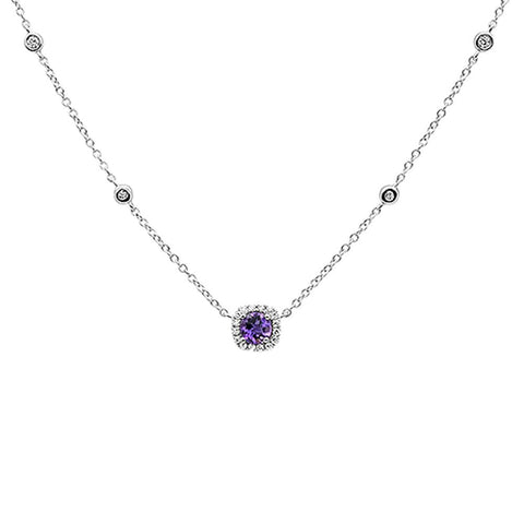 .45cts 14k White Gold Round Amethyst Designer Diamond Pendant Necklace 18""