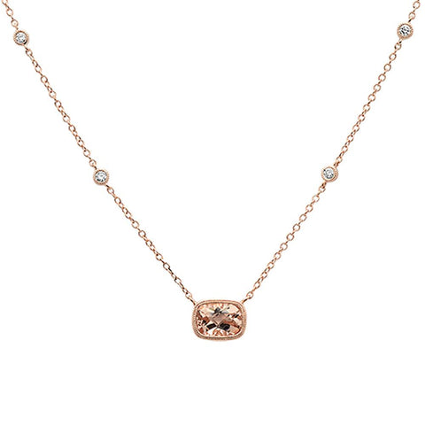 .99cts 14k Rose Gold Cushion Morganite Diamond Pendant Necklace 18""