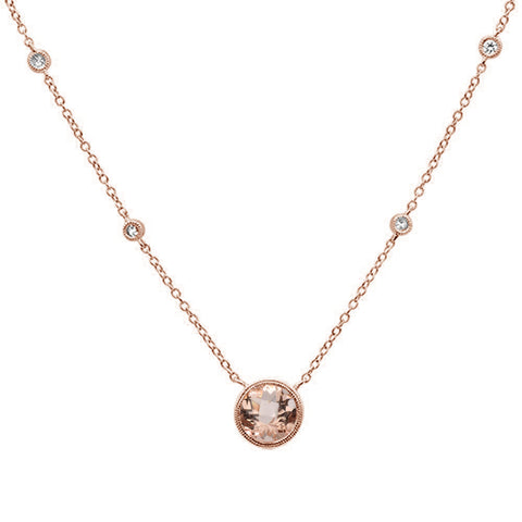 1.29cts 14k Rose Gold Morganite Diamond Pendant Necklace 18""
