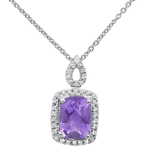 "1.32cts 10k White Gold Cushion Amethyst & Diamond Pendant Necklace 18"" Long"