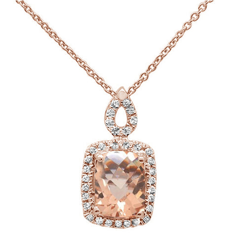 "1.30cts 10k Rose Gold Cushion Morganite & Diamond Pendant Necklace 18"" Long"