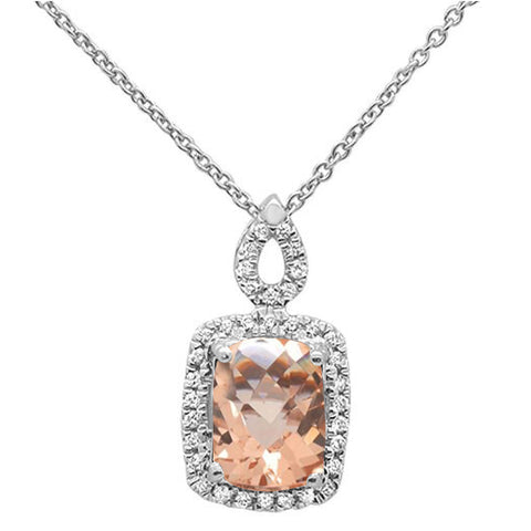 "1.43cts 10k White Gold Cushion Morganite & Diamond Pendant Necklace 18"" Long"