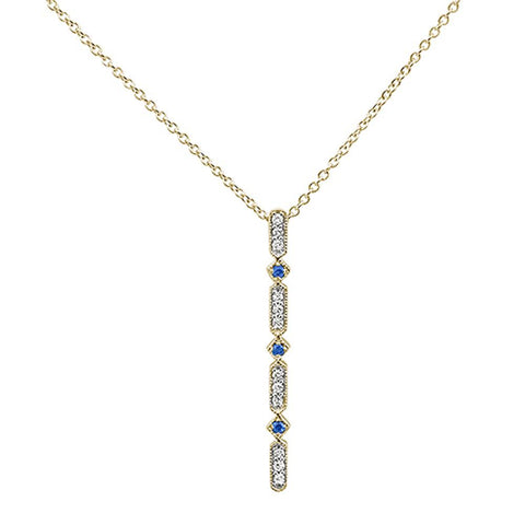 .16ct 10k Yellow Gold Sapphire & Diamond Antique Reproduction Necklace