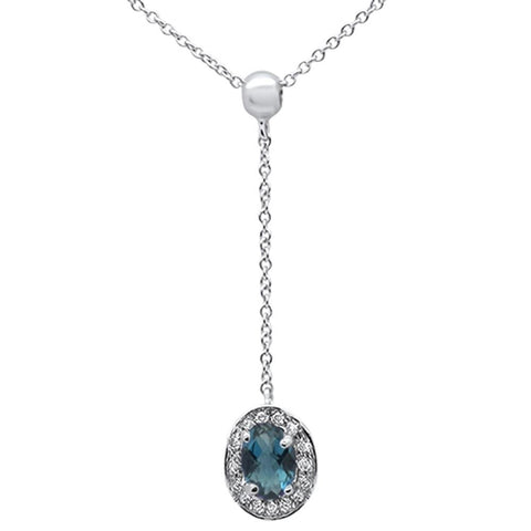 ".57cts 10k White Gold Blue Topaz & Diamond Lariat Pendant Necklace 18"" Long"
